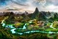 Картинка поля, плантации, горы, дома, панорама, деревья, долина, Китай, зелень, Guangxi, река