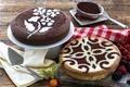 Картинка какао, физалис, узор, торт, ягоды