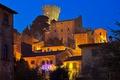 Картинка дома, Викопизано, Италия, ночь, башня, Тоскана, огни