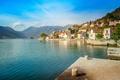 Картинка небо, солнце, облака, горы, берег, дома, бухта, залив, Черногория, Kotor bay, Perast