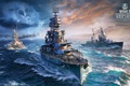 Картинка World Of Warship, небо, океан, дождь, Battleship, корабли, молния, игра, Arizona