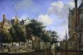 Картинка масло, картина, городской пейзаж, Мартелаарсграхт в Амстердаме, Ян ван дер Хейден