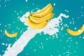 Картинка брызги, бананы, всплеск, обои, молоко