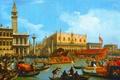 Картинка Венеция, Возвращение Бучинторо к Молу у Дворца Дожей, Джованни Антонио Каналь, гондола, городской пейзаж, лодки, ...