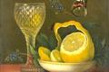Картинка Мария Маргарета ван Ос, Натюрморт с Лимоном и Хрустальным Стаканом, бабочка, масло, картина, дерево