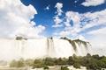 Картинка облака, деревья, Южная Америка, река Игуасу, небо, вода, водопады Игуасу