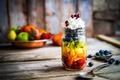 Картинка клубника, ананас, ягоды, черника, .крем, сладкое, десерт, банка, гранат, киви