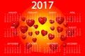 Картинка дизайн, ярко, 2017, новый год, месяца, год, сердечки, новый 2017 год, фон, дата, вектор, красный, ...