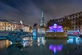 Картинка фонтан, Трафальгарская площадь, Англия, ночь, Лондон, огни