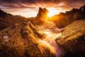 Картинка побережье, скалы, рассвет, Шотландия, Morayshire, Scotland