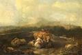 Картинка корова, картина, Итальянский Пейзаж со Скотом, пейзаж, Nicolaes de Helt Stockade