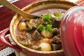 Картинка ложка, мясо, кастрюля, овощи, картофель, жаркое