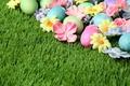 Картинка трава, Easter, Пасха, flowers, яйца крашеные, Happy, spring, eggs, цветы