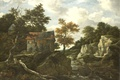 Картинка картина, масло, Скалистый Пейзаж, холст, Якоб ван Рёйсдал