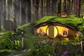Картинка fantasy, Austin Richey, Forest Hobbit House, Средиземье, домик
