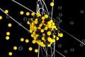Картинка свет, желтый, абстракция, черный, abstract, ядро, light, black, yellow, сферы, rendering, atom, sphere, ренденинг, blender3d, ...