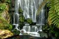 Картинка камни, зелень, вода, водопад