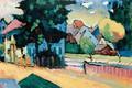 Картинка Вид Мурнау, дорога, абстракционизм, дом, Василий Кандинский, картина