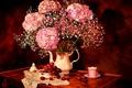 Картинка Hortensia, Bouquet, Цветы, Flowers, Art, Букет, Still Life, гортензия, Арт, Рисунок, Натюрморт, Чашка, Посуда