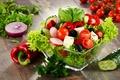 Картинка салат, редис, помидор, овощи, брынза, перец