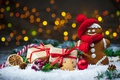 Картинка Новый Год, Рождество, winter, snow, bokeh, merry christmas, cookies, decoration, gifts, gingerbread