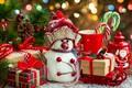 Картинка decoration, Xmas, Новый Год, подарки, снеговик, Merry Christmas, украшения, holiday celebration, gift, snowman, елка, Christmas, ...
