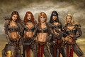Картинка red, girl, red hair, weapon, redhead, brunette, blonde, shield, warrior, dagger