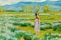 Картинка цветы, кувшин, Taos Pueblo, Bert Geer Phillips, or Daughter of the Water Clan, The Water ...