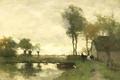 Картинка масло, картина, холст, Иохан Хендрик Вейсенбрух, Пейзаж с Фермой Недалеко от Озера