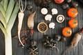 Картинка зелень, грибы, лук, овощи, томат