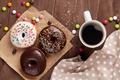 Картинка кофе, пончики, cup, coffee, donuts