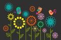 Картинка рисунок, птицы, цветы