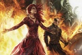 Картинка fire, red, flame, sword, red hair, woman, ken, redhead, blade, dragon, A Song of Ice ...