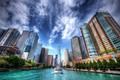 Картинка небо, река, здания, hdr, Чикаго, Иллинойс, Chicago, Illinois, небоскрёбы, теплоход, Chicago River, река Чикаго
