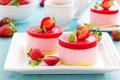 Картинка ягоды, еда, клубника, пирожное, десерт, желе, суфле