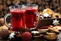 Картинка клюква, напиток, специи, глинтвейн, Новый год, печенье, анис