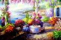 Картинка цветы, стол, дома, окно, веранда, Смородинов Руслан