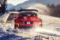 Картинка Красный, Зима, Авто, Снег, Спорт, Машина, Гонка, Ситроен, Citroen, Автомобиль, WRC, Rally, Ралли, Rallye Monte-Carlo, ...