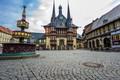 Картинка дома, Германия, площадь, фонтан, Wernigerode