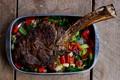 Картинка кусочки, овощи, зелень, мясо, жареное