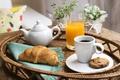 Картинка breakfast, кофе, печенье, сок, завтрак, чашка, круассан