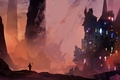 Картинка lights, City, fantasy, deviantart, castle, digital art, artwork, fantasy art, cityscape, silhouette, sorcerer, magician, fantasy ...