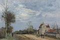 Картинка пейзаж, картина, Камиль Писсарро, Дом Господина Муси. Дорога в Марли. Лувесьен