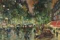 Картинка картина, улица, городской пейзаж, ночь, Константин Коровин, дома, Русский Бульвар Ночью