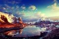 Картинка облака, небо, солнце, Норвегия, залив, дома, зима, горы, снег, Lofoten, Лофотенские острова