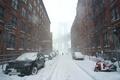 Картинка Нью-Йорк, снег, машины, снежная буря, улица