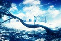 Картинка небо, девушка, птицы, природа, дерево, дома, Y_Y