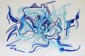 Картинка Лена Роговая, пастель., зимний стиль, голубой, акрил, Акварель, гуашь, маркеры, Рисунок, масло, гель, тёмно-синий