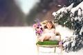Картинка снег, ель, Meg Bitton, цветы, девочка