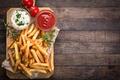 Картинка Portion, wood, french fries, rosemary, sauce tomatoes